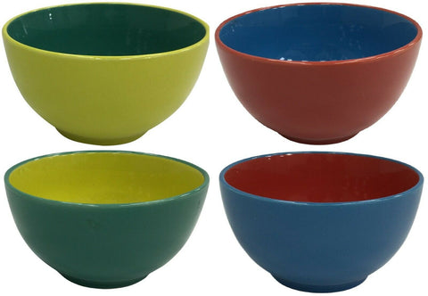 Set of 4 Bright Coloured Large Ceramic Cereal Bowls Soup Bowls