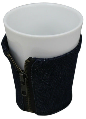 White Coffee Mugs With Jeans Glazed Stoneware Large Mug Beakers 350ml Capacity