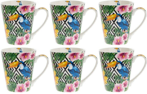 Leonardo Collection Set of 6 Fine China LARGE Mugs Wildlife Toucan Bright Colour