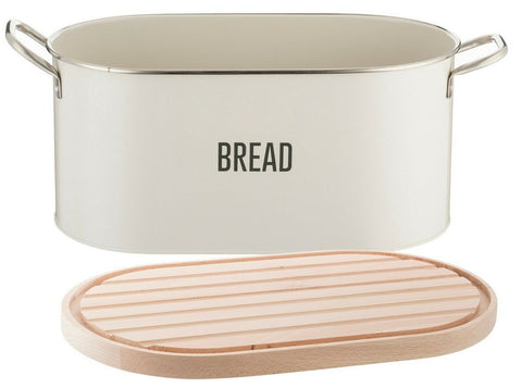 Typhoon Vintage Cream Bread Bin Retro Bread Bin Beechwood Lid / Chopping Board