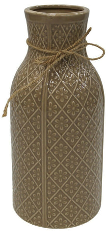 25cm Tall Brown Flower Vase Round Patterned Vase With Wide Body & Wide Mouth