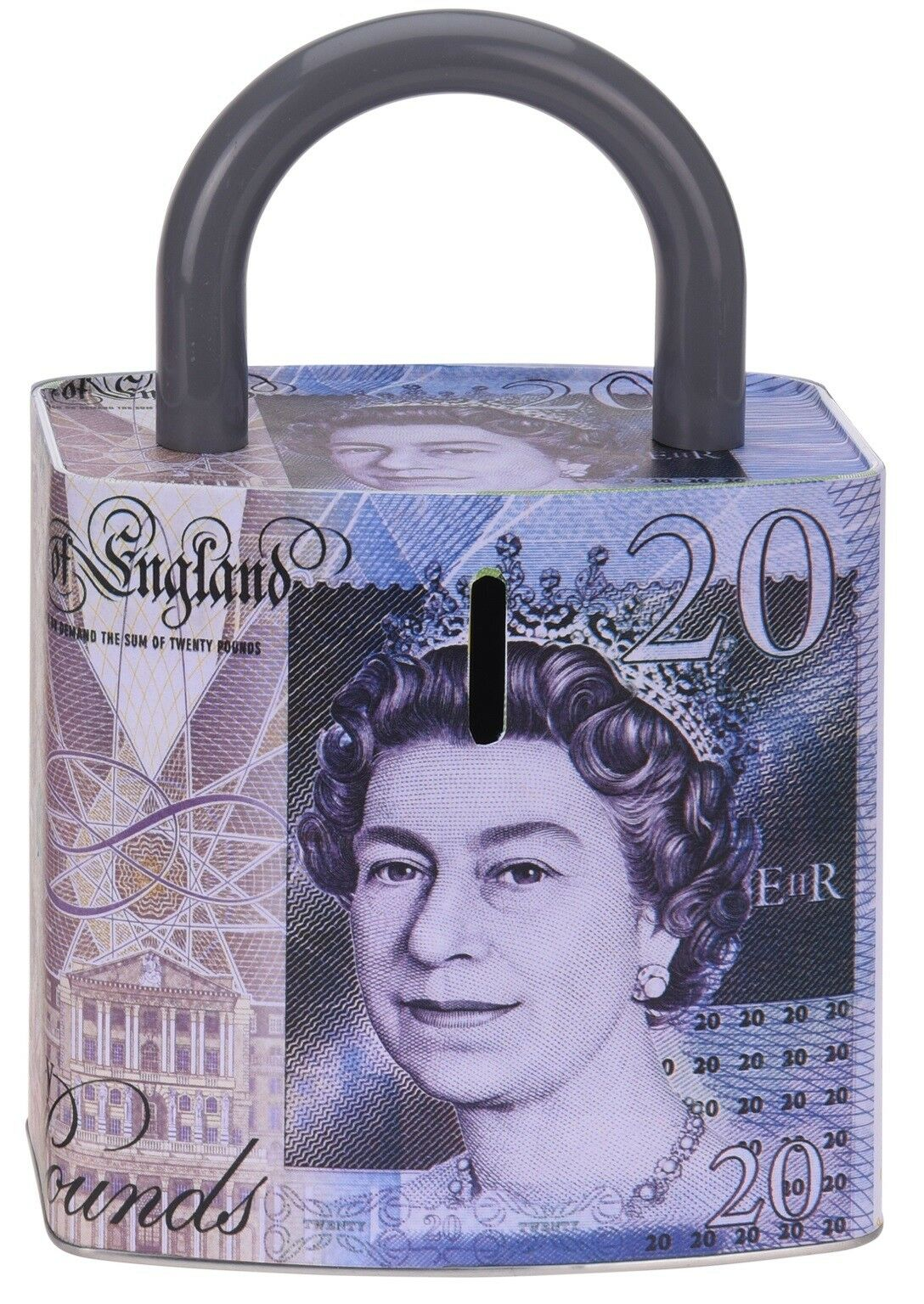 Large Unique Metal Money Box In Shape of a Lock £20 Note & £50 Note