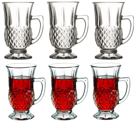 Pasabahce Tea Glasses with Criss-Cross Design & Handles in Gift Box Set of 6