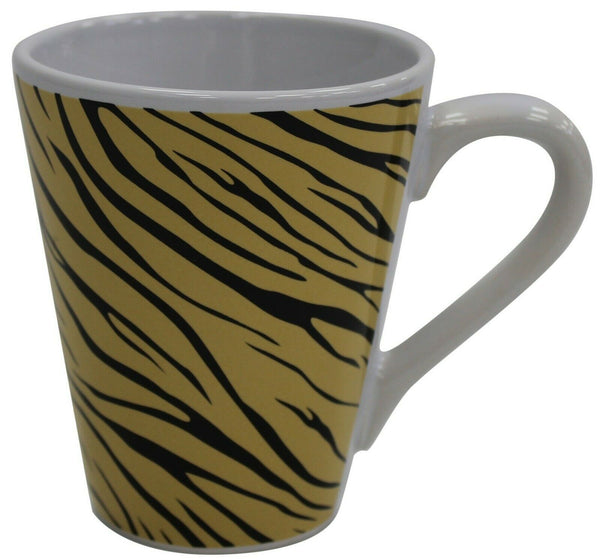 Set of 6 Porcelain Tiger Striped Coffee Mugs 284ml Capacity Conical