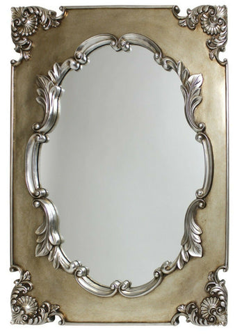 Large Ornate Antique Grecian Champagne French Wall Mirror 76cm x 102cm