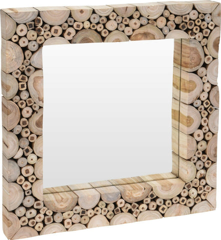 Large Teak Wood Wall Mirror Split Log Design 50cm x 50cm Wooden Frame