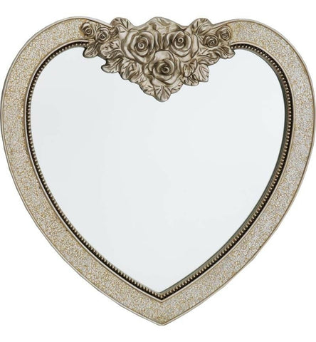 Large Heart Shaped Wall Mirror Champagne Colour with Rose 85cm x 88cm