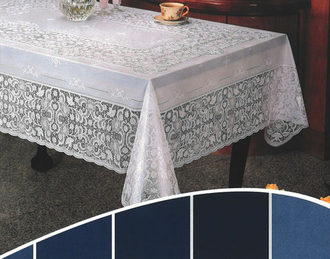 Large 7ft Rectangle White Vinyl Lace Tablecloth Easy Clean Indoor / Outdoor Use
