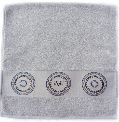 V1969 Grey Lovely Design Hand Towel 100 % Cotton 50cm x 90cm
