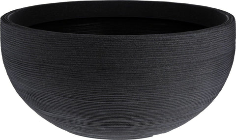 Large Ribbed Charcoal Round Bowl Planter Plant Pot 58cm Wide