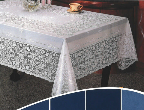 Large 6ft Rectangle White Vinyl Lace Tablecloth Easy Clean Indoor / Outdoor Use