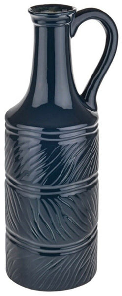 Large Midnight Blue 33cm Tall Bottle Vase. Retro Looking Large Flower Vase
