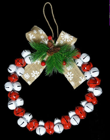 30cm Original Jingle Bell Wreath - Red & White Wreath