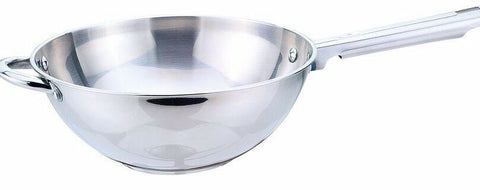 Sabichi 26cm Stainless Steel Deep Wok 26cm. Induction Friendly Wok