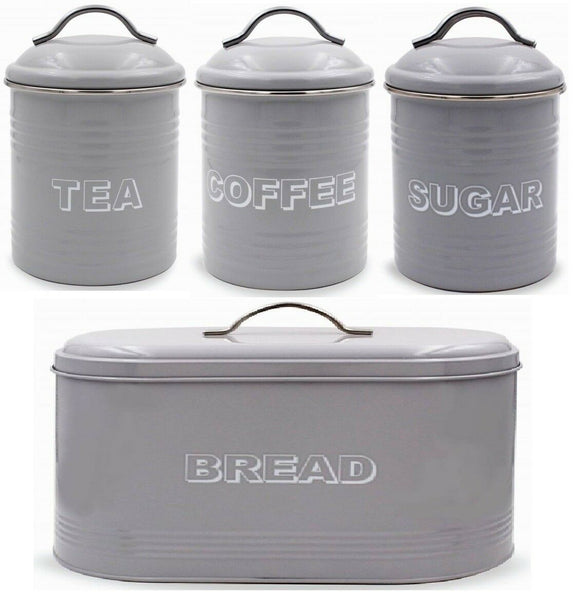 Leonardo Collection Grey Bread Bin Tea Coffee Sugar Canister Countertop Set