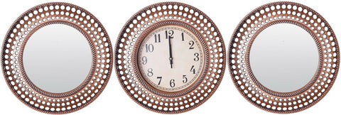 Set of 3 Brushed Copper Wall Clock & 2 Matching Mirror Wall Hanging Clock Mirror