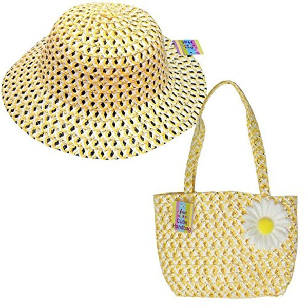 Cute Girls Summer Hat and Handbag Easter Bonnet & Matching bag in Yellow