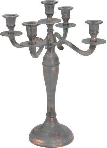 Antique Looking Copper 5 Arm Candle Holder Candelabra 39cm Tall