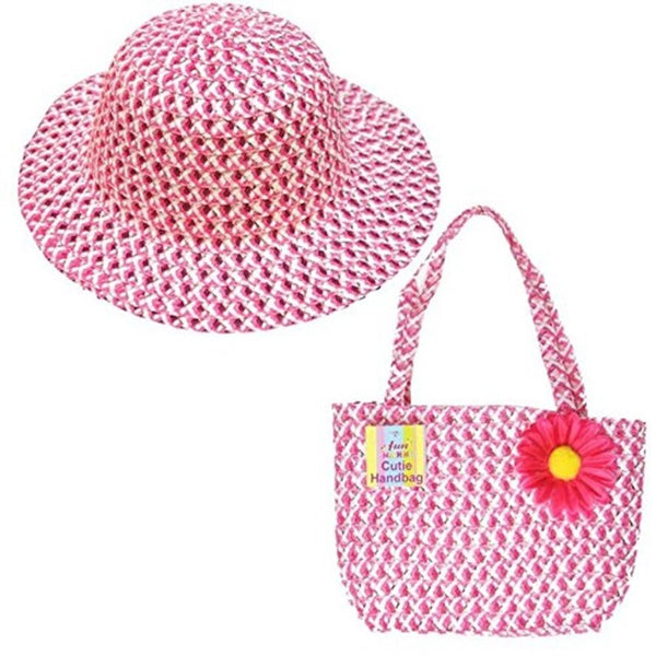 Cute Girls Summer Hat and Handbag Easter Bonnet & Matching bag in Pink