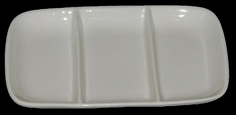 Set of 6 White Porcelain Pickle Dishes, Olive Spice Mayo Dish With 3 Divisions
