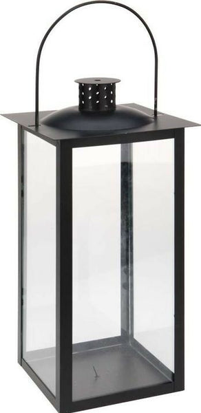 Black Festive Glass Garden Lantern with 96 Led Lights & 8 Memory Functions