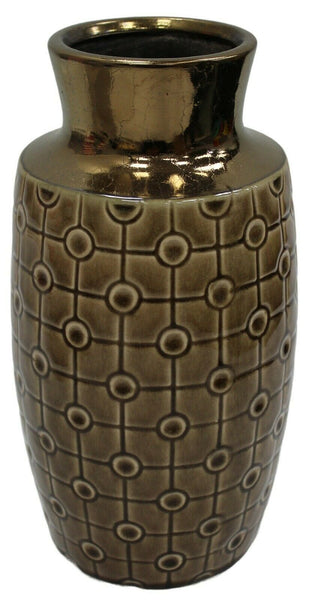 Large Ceramic Bottle Shaped Tall Flower Vase 28cm Tall Brown & Gold Wide Mouth