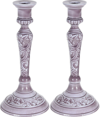Set of 2 Aluminium Purple Candlestick Candle Holder Candle Sticks
