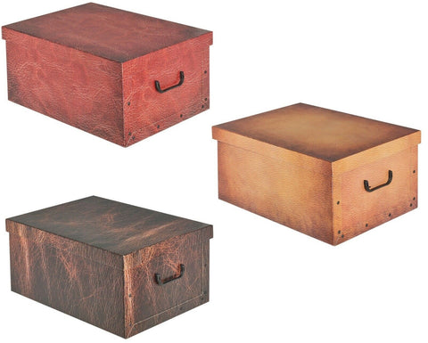 Large Leather Look Cardboard Storage Boxes With Lid Storage Box Toy Box Handle