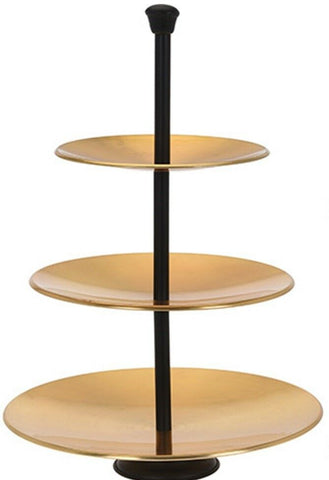 3 Tier Tea Cup Cake Stand in Gold & Black 35cm Tall