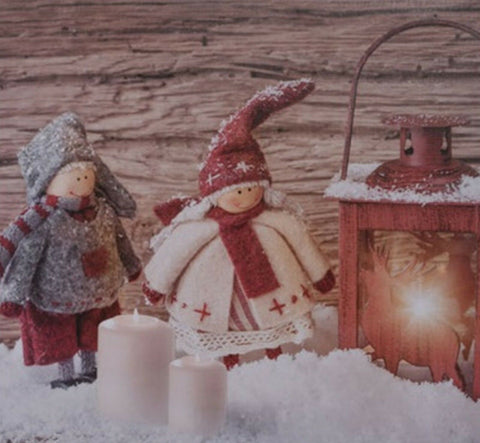 LED Light up Canvas Pictures 30cm x 30cm Wall Hanging Art Dolls in Snow