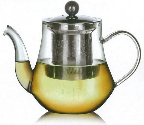 Glass teapot with stainless steel infuser Tear drop design