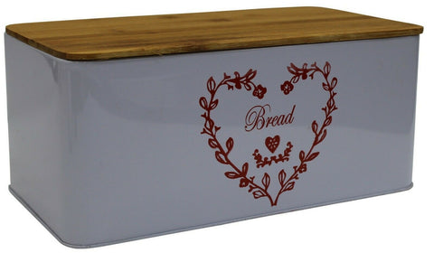 Light Purple Bread Bin Bread Crock With Bamboo Lid / Cutting Board Heart Design