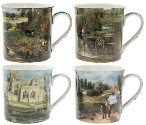 Leonardo Collection Set of 4 China Coffee Mugs John Constable 1776-1837 Giftbox