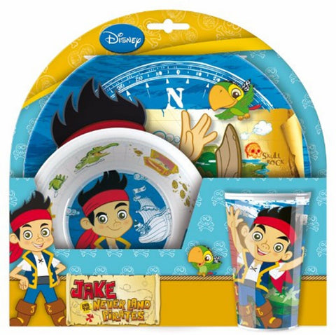 Jake and the Neverland Pirates Kids Dinner Plate Bowl Cup Set Melamine