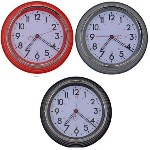 Large Retro Metal Wall Clock Red Black & Grey
