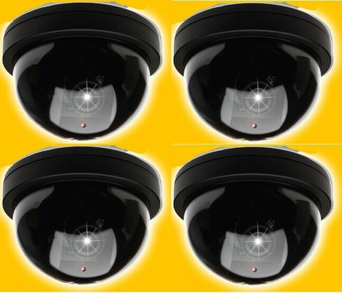 Pack of 4 Dummy Fake Security Camera Dome Security Camera With Flashing Led