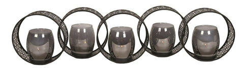 62cm Black Five Circle Tealight Holder Candle Holder