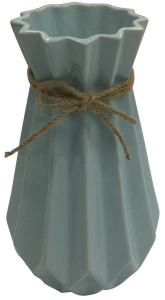 24cm Tall Pastel Blue Vase Flared Ceramic Flower Vase With String