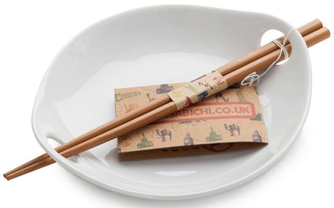 Sabichi White Porcelain Rice Dish With Bamboo Reusable Chopsticks