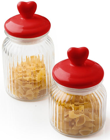 Sabichi Glass Heart Glass Storage Jars With Airtight Seal 600ml & 900ml
