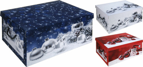 Cardboard Large 45L Storage Boxes With Lids Christmas Storage Box Baubles Design