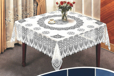54in Square White Vinyl Lace Crochet Tablecloth Easy Clean Indoor / Outdoor Use