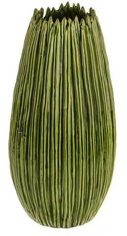 36cm Tall Botanica Green Ceramic Flower Vase Unique Rippled Design Wide Body