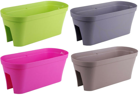 Bright Coloured Plastic Fence Planters Large Flower Pots 60cm 17.3 Litres