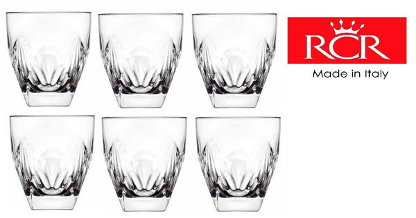 Rcr Fior Di Loto Classy Dinnerware Crystal Whisky Glasses Tumblers 27cl Set of 6