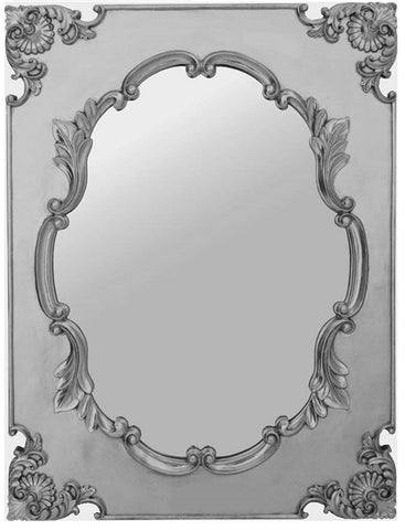 Large Ornate Antique Grecian Silver French Wall Mirror 76cm x 102cm