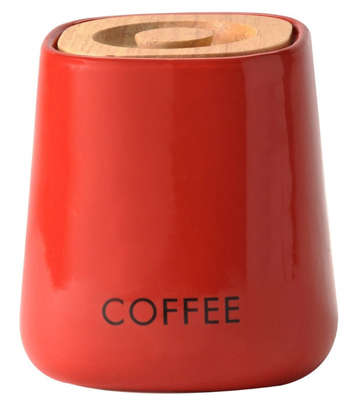 Red Cubic Airtight Coffee Jar made by Price & Kesington With Oak Lid