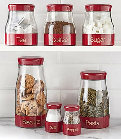 Sabichi Red Biscuit Jar Pasta Jar, Salt Pepper Tea Coffee Sugar Canisters Set