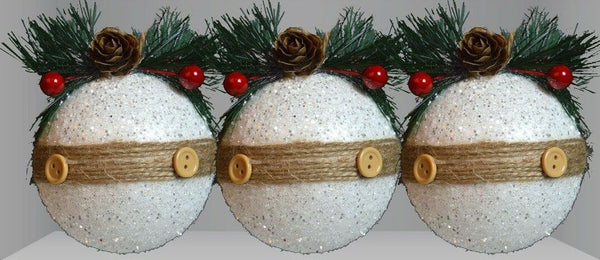 Set of 3 Rustic Large Baubles White & Glitter With Berries