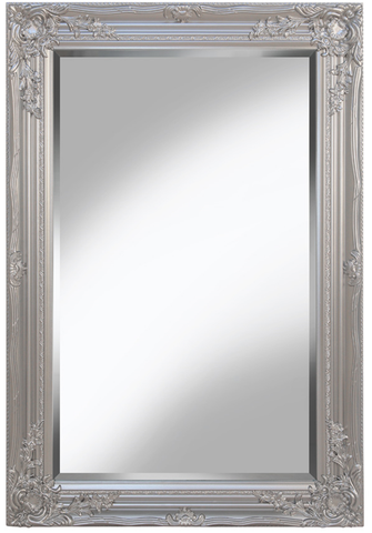 Large Ornate Silver Wall Mirror 60cm x 90cm With Ornate Detail on Frame